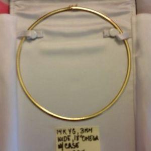 "Jewelry - 14K SOLID 18"" INCH GENUINE YG 3MM OMEGA CHAIN"